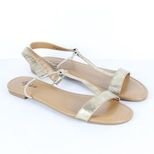 Style & Co. Kristee T-Strap Flat Sandals Gold